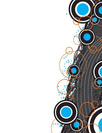 Een grafisch ontwerp met cirkels en retro kunst elementen. Deze vector afbeelding is volledig bewerkbaar.  Stock Illustratie