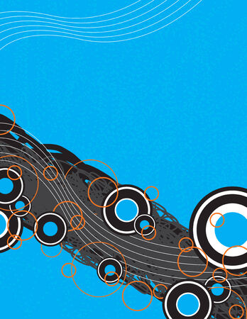 fully: A graphical layout with circles and retro art elements.  This vector image is fully editable.