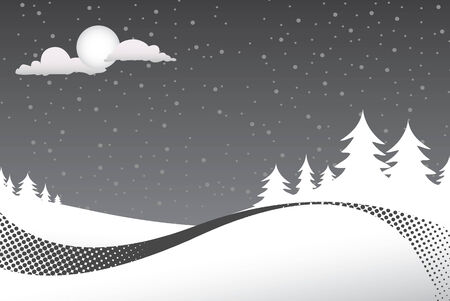 night: A winter scene with silouettes of pine trees on a snowy night and lots of copyspace.  This vector is fully customizable.