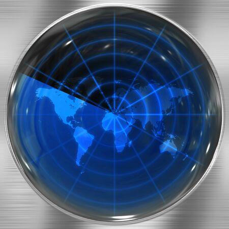 sonar: La carte du monde dans un �cran radar - spots peuvent �tre ajout�s facilement n'importe o� elles sont n�cessaires.