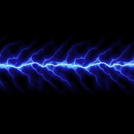 electrifying: Bolts of lightning isolated over a black background. Stock Photo