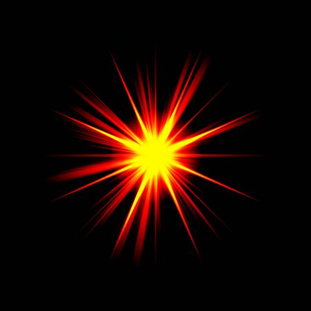 A bright exploding burst over a black background. Stock Photo
