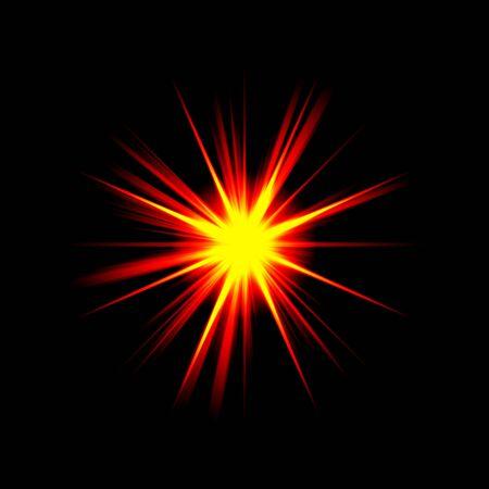 detonation: A bright exploding burst over a black background. Stock Photo