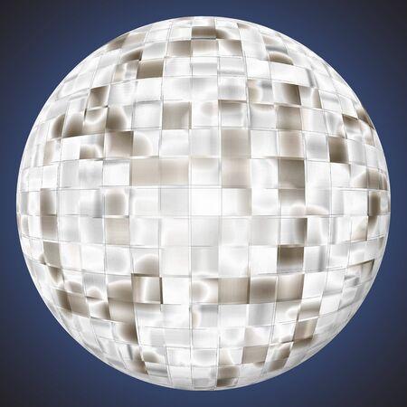 glittery: 3D disco ball illustration - very shiny and reflective. Stock Photo
