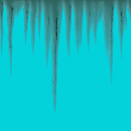 refrigerated: Isolated icicles hanging over a blue background - tiles seamlessly as a pattern Stock Photo
