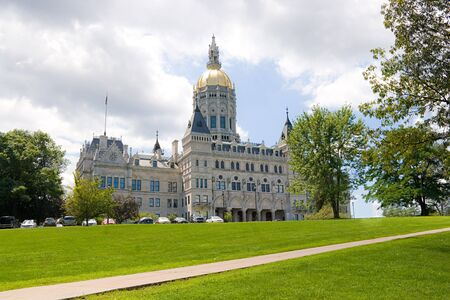 downtown capitol: The golden-domed capitol building in Hartford Connecticut. Stock Photo