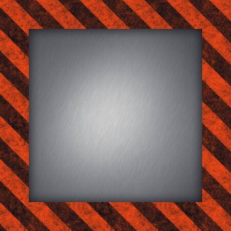 hazard stripes: A diagonal hazard stripes border with brushed metal in the center. Stock Photo