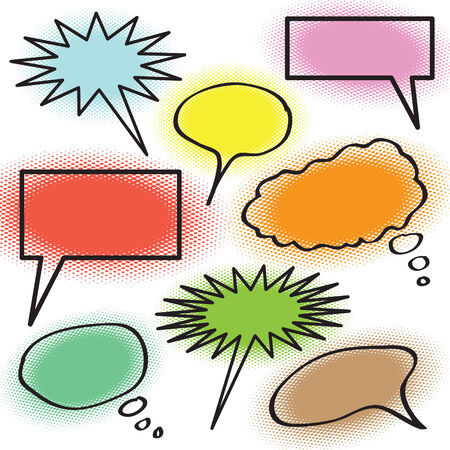 A collection of thought bubbles with halftone coloring.  Easily edit the colors or simply use the outlines. Vector