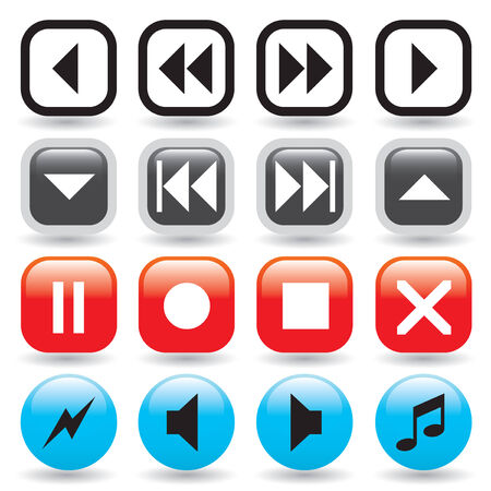 multimedia icons: A collection of glossy media player buttons in web 2.0 style Illustration