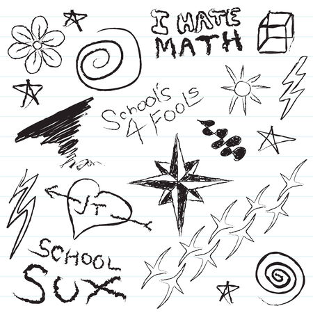 mathematics: Some typical doodles you might find in a teenage high school notepad.