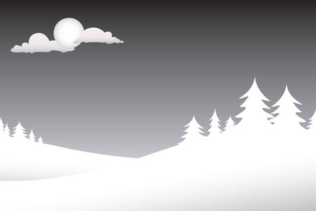A winter scene with silouettes of pine trees on a snowy night and lots of copyspace.  This vector is fully customizable. Vector