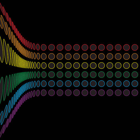A rainbow colored abstract design template.  This vector is fully customizable. Vector