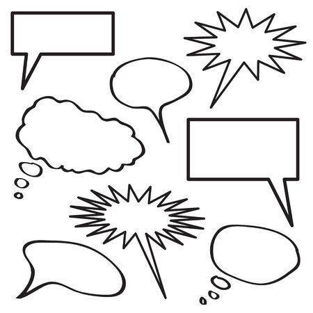 A collection of blank thought bubbles in black and white.   Illustration