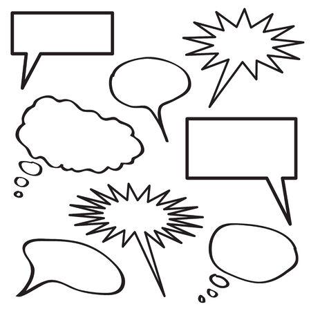 bande dessin�e bulle: Une collection de bulles de pens�e vide en noir et blanc.  Illustration