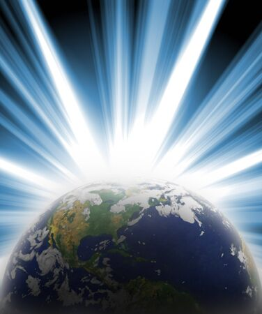 Our planet earth with a bright star burst coming from behind. Stock Photo - 4124774