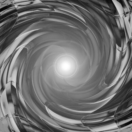 An abstract vortex or tunnel with a bright light coming from the center. Stock Photo