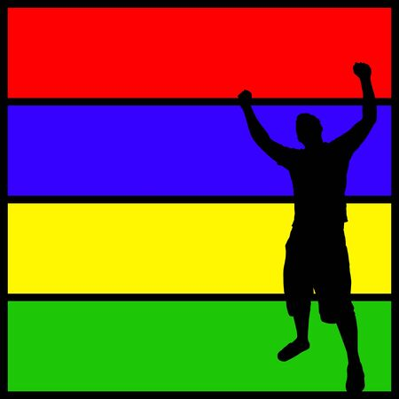 A silhouette of a man with his arms in the air over a colorful background. Stok Fotoğraf