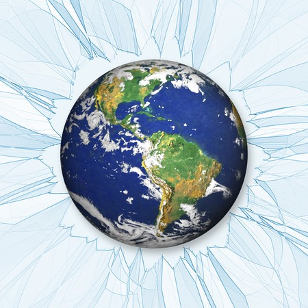 An illustration of the earth smashing through some glass or ice. illustration
