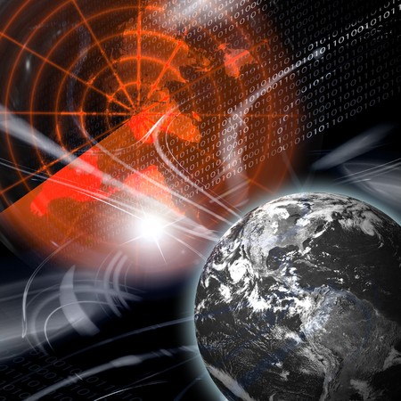 world war: A montage depicting the digital age we live in featuring the earth and binary code. Stock Photo