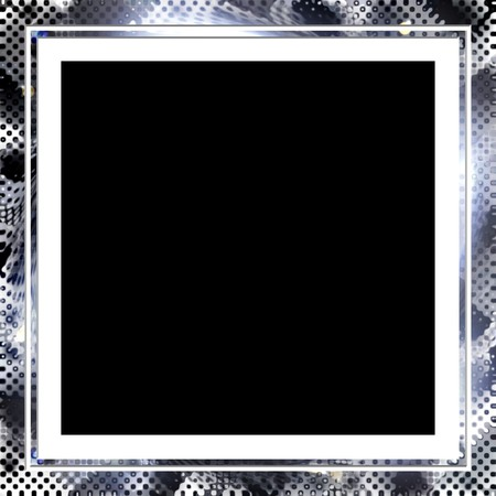A square photo frame with a halftone texture. photo