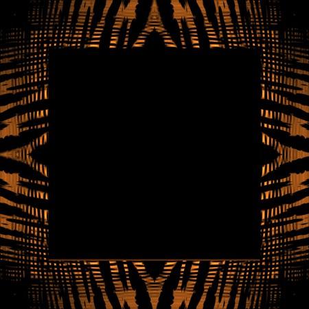 Een vierkante foto frame met een tijger streep textuur.