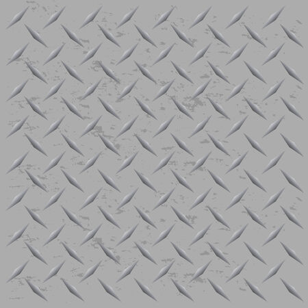 A silver metallic diamond plate texture that tiles seamlessly in any direction.  This vector image is easily customized to any other style.  イラスト・ベクター素材
