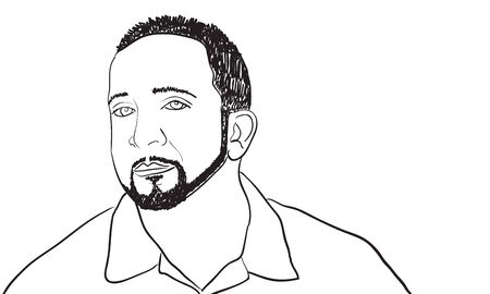 A sketch of a man with a goatee and thin beard.  This vector image is fully editable.