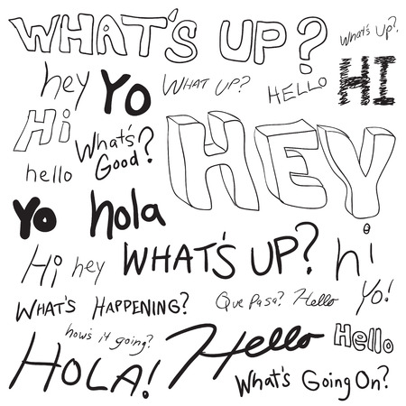 to go: Greetings in doodle style as you might find written in a teenagers school notebook. Many different ways of saying hello.   Illustration