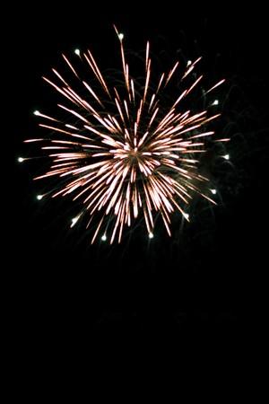 Beautiful fireworks exploding over a dark night sky. Plenty of copyspace. Stock Photo - 4220176