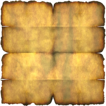 crease: An ancient section of parchment paper with crease marks isolated over white.