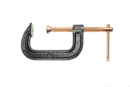c clamp: A common c-clamp isolated over a white background. path is included. Stock Photo