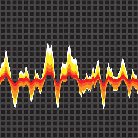 An audio waveform over a grid background. It also could be a heartrate monitor. Vector