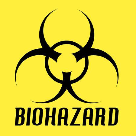 黄色の上のバイオハザードのシンボルです。このベクターの要素のすべてが完全に編集可能です。  イラスト・ベクター素材