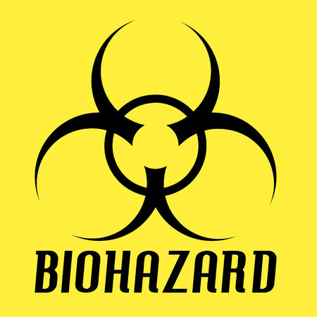 infectious waste: Biohazard symbol over a yellow.  All of the elements in this vector are fully editable.