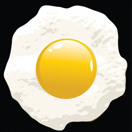 A fried egg illustration - isolated over black as seen in a cast iron frying pan.
