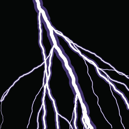 electrifying: Bolts of lightning isolated over a black background. Illustration
