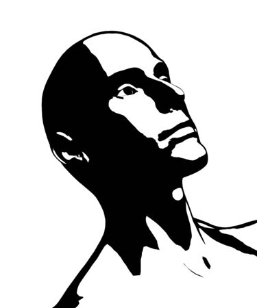 A bald man that looks to be in deep thought. Illustration