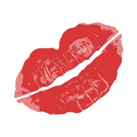 A red lipstick smudge isolated over white. Great for Valentines day!