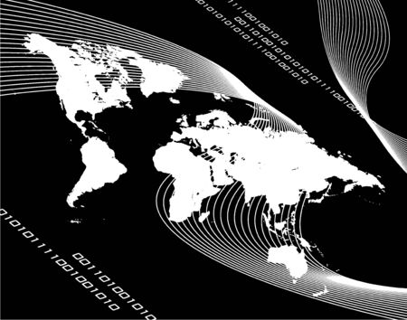 A black and white world map montage with binary code.  Works great for business internet communications and more.  Vector