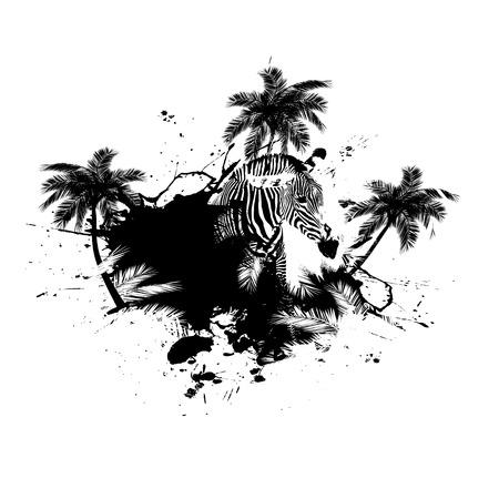 Grungy palmier tropical graphique avec un zèbre et beaucoup d'éclaboussures. Banque d'images - 4301731