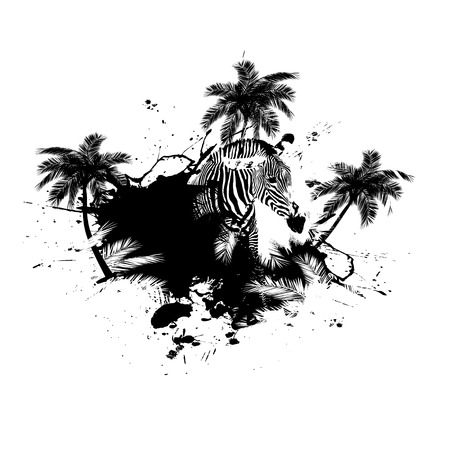blots: Grungy tropical palm tree graphic with a zebra and lots of splatter. Illustration