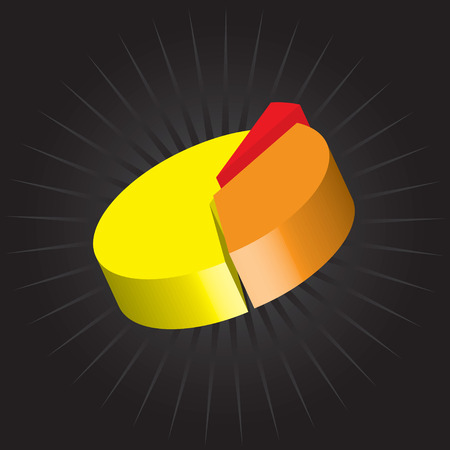 A 3D pie chart vector graphic with three staggered pieces. Vectores