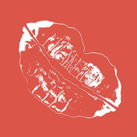 赤い背景の上の口紅の汚れ。バレンタインの日に最適 ! 写真素材 - 4324280