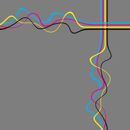 squiggly: Abstract layout with wavy lines in a cmyk color scheme.  This vector image is fully editable.