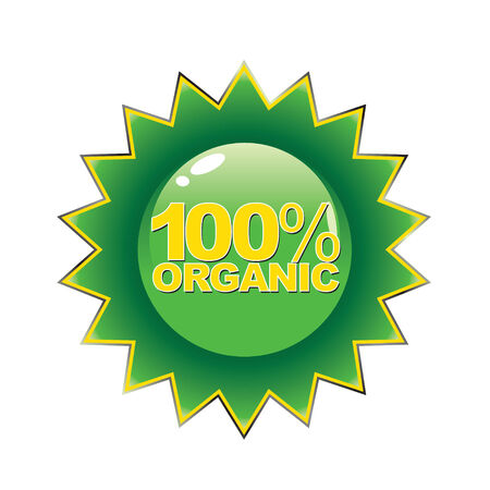 An emblem that ensures the customer that the product is 100 percent organic. Vector