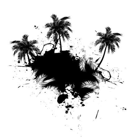 Grungy tropical palm tree graphic with lots of splatter. Illustration