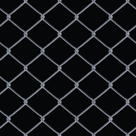 A 3D chain link fence texture over black - this tiles seamlessly as a pattern in any direction. Stock Illustratie