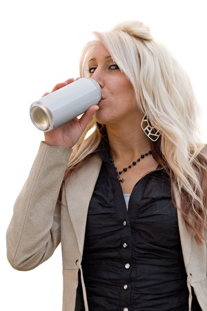A young woman drinking from an aluminum can with a blank label. photo