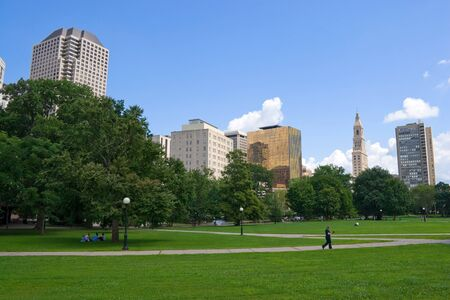 The Harford Connecticut city skyline as seen from Bushnell Park. Stock Photo