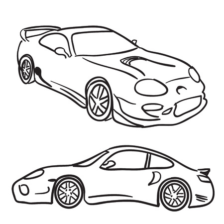 car speed: Clip art sports car drawings isolated over white in vector format.  Paint them any color your need or simply use them as is. Illustration